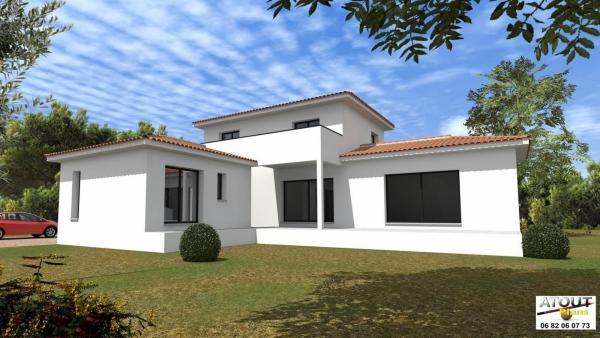 Maison moderne villeneuve les avignon atoutplans architecture for Les facades des maisons modernes