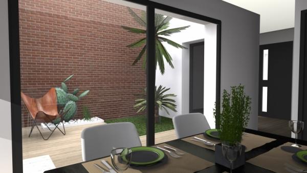 maison de ville avec patio. Black Bedroom Furniture Sets. Home Design Ideas