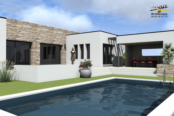 Villa contemporaine avec piscine montpellier 34 for Maison moderne design contemporaine