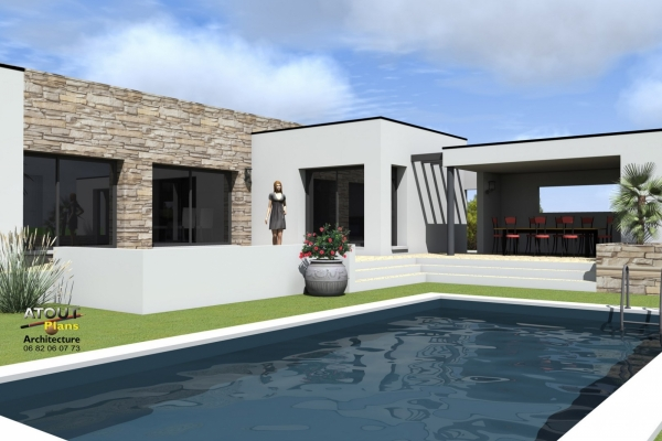 Villa contemporaine avec piscine montpellier 34 for Villa contemporaine plan