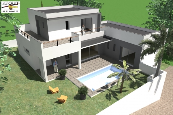 Villa moderne toits plats 160 m permis de construire 2012 for Construire sa villa