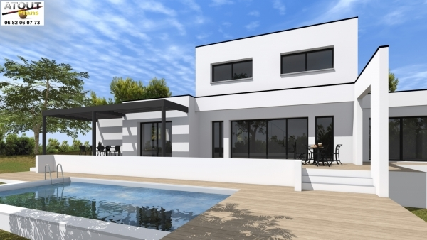 Villa moderne villeneuve 30 permis de construire 4 chambres for Architecture petite villa moderne