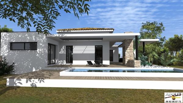 Villa moderne villeneuve les avignon plain pied de 140 m for Villas modernes architecture